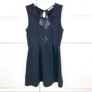 Xtaren Black Mini Lace Inset Skater Party Dress M